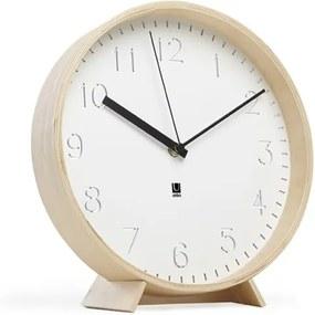 Nástenné alebo stolové hodiny RIMWOOD P:25,4 cm drevené, Umbra, Drevo,kov, 25,4 priemer x 5 cm, prírodna, biela, čierna