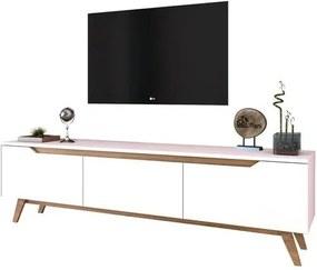 Sconto TV stolík QUINN biela/svetlý orech