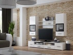 CAMA MEBLE Obývacia stena SNOW biela mat / čierny rám