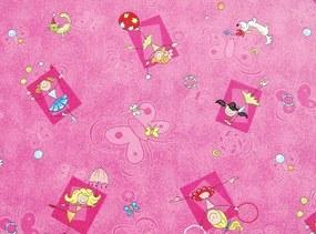 AKCE: 95x300 cm Metrážový koberec Happy / 447 růžová - Rozměr na míru bez obšití cm
