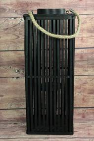 Prútený lampáš s úchytkou - čierny (v. 59,5 cm) - moderný štýl