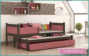 GL Posteľ Twist P2 grafit 184x80 MDF rôzne farby Farba: Ružová