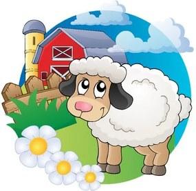 Nálepka na stenu pre deti Biela ovečka 10x10cm NK4444A_1HP