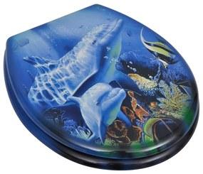 vidaXL WC sedadlá s pevným zatváraním 2 ks MDF motív delfínov