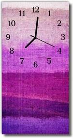 Sklenené hodiny vertikálne  Maľovaná farba fialová