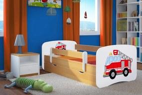 Ourbaby Detská posteľ so zábranou Hasičské auto, 140x70 cm