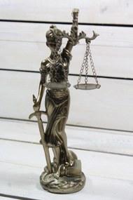 Socha spravodlivosti JUSTÍCIA (v. 25 cm) vzor 934 - staré zlato