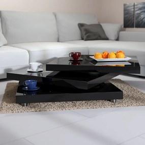 Konferenčný stolík NY - 60  x 60 cm - vysoký lesk, čierna