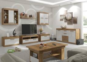 MEBLOCROSS Maximus obývacia izba dub burgundský / biely lesk