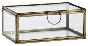 MADAM STOLTZ Sklenená krabička Antique Brass