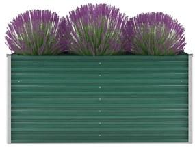 vidaXL Vyvýšený záhradný záhon, pozinkovaná oceľ 160x40x77 cm, zelený