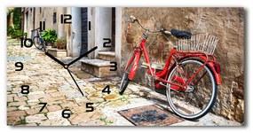 Sklenené hodiny na stenu tiché Červené koleso pl_zsp_60x30_f_92372421