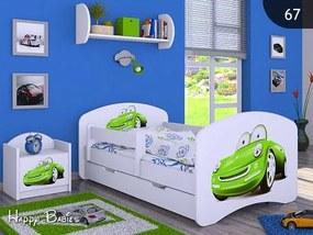 MAXMAX Detská posteľ so zásuvkou 180x90cm ZELENÉ AUTO - biela