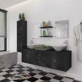 vidaXL 11-dielna čierna sada kúpeľového nábytku s umývadlom a batériou
