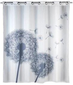 Biely sprchový záves s protiplesňovou povrchovou úpravou Wenko Dandelions, 180 × 200 cm
