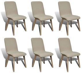 Dubové béžové jedálenské stoličky set 6 ks