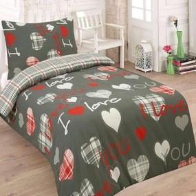 HoD Dvojstranné Obliečky I Love you šedé Bavlna 70x90 140x200 cm