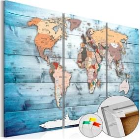 Nástenka s mapou sveta Artgeist Sapphire Travels 120 × 80 cm