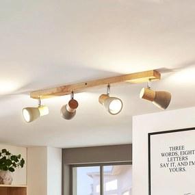 LED svetlo Filiz z dreva a betónu 4-plameňové