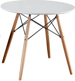 Jedálenský stôl, biela/buk, GAMIN NEW 80