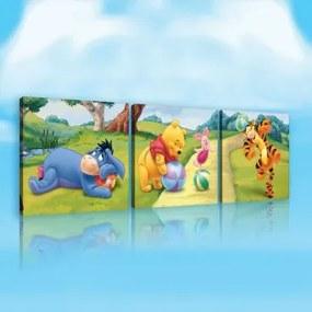 Obraz na plátne viacdielny - OB2616 - Macko Pú a kamaráti 75cm x 25cm - S13