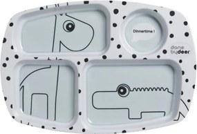 Detský delený tanier s modrými detailmi Done by Deer Happy Dots