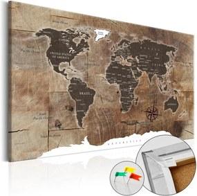 Nástenka s mapou sveta Bimago Wooden Mosaic 120 × 80 cm