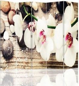 CARO Paraván - White Flowers | päťdielny | jednostranný 180x180 cm