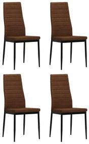 vidaXL Jedálenské stoličky, 4 ks látkové hnedé