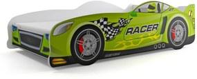Posteľ Auto - 160x80cm - Pretekár - Zelený
