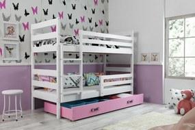 Poschodová posteľ - ERIK 2 - 190x80cm - Biela - Ružová