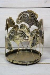 Kovový svietnik LISTY - zlatý (v. 20 cm, p. 14,5 cm) - moderný štýl