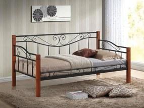 Eshopist Kovová posteľ KENIA 90 x 200 cm antická čerešňa / čierna