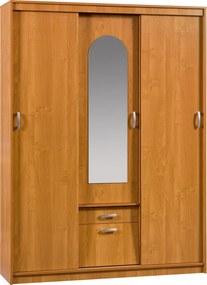 MEBLOCROSS Aleksander 4 4D šatníková skriňa so zrkadlom jelša
