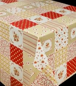 Obrus PVC metráž 573311, šírka 140 cm, patchwork červený, IMPOL TRADE