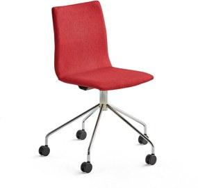 Konferenčná stolička Ottawa s kolieskami, červená, chróm
