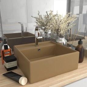 vidaXL Luxusné umývadlo, prepad, matné krémové 41x41 cm, keramika