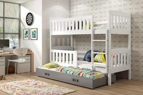 Poschodová posteľ s prístelkou KUBO 3 - 200x90cm Biela - Grafitová