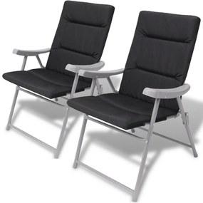 Skladacie záhradné stoličky s čiernymi podložkami 2 ks