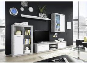 KONDELA Klark obývacia stena s osvetlením biela / betón