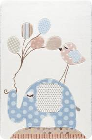 Detský svetlomodrý koberec Confetti Spotty Elephant, 133 × 190 cm