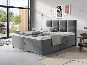 Moderná box spring posteľ Angela 180x200, sivá