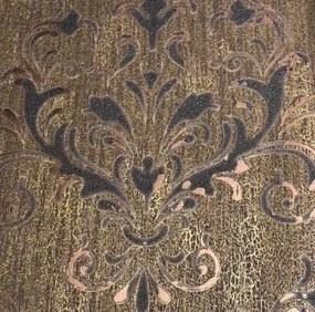Luxusné vliesové tapety na stenu Spotlight 2 02522-30, zámocký vzor hnedo-čierny s medenými odleskami s patinou, rozmer 10,05 m x 0,53 m, P+S International