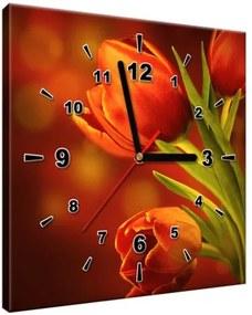 Obraz s hodinami Tajomné červené tulipány 30x30cm ZP1256A_1AI