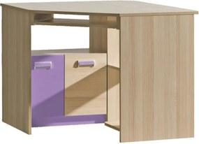 PC stôl, rohový, jaseň/fialový, EGO L11