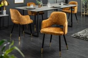 Dizajnová stolička Laney horčicovožltý zamat