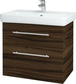 Dřevojas - Koupelnová skříň Q MAX SZZ2 70 - D06 Ořech / Úchytka T02 / D06 Ořech (60414B)