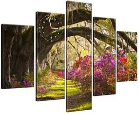 Obraz s hodinami Silné duby a kvety 150x105cm ZP1480A_5H
