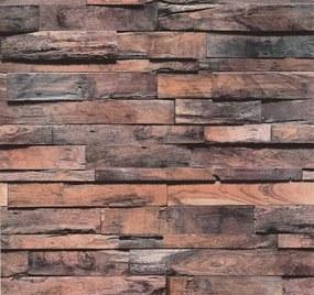 Vliesové tapety, drevo béžovo-sivá patina s 3D efektom, Einfach Schoner 247230, P+S International, rozmer 10,05 m x 0,53 m