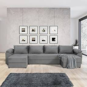 TEMPO KONDELA Dalas L/P rohová sedačka u s rozkladom a úložným priestorom sivá